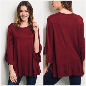 BELLA BURGUNDY RUFFLE hand detail - Top